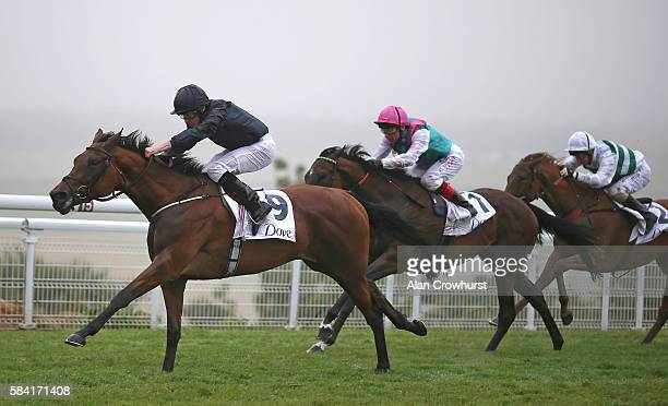 Ryan Moore riding Rhododendron win The Dove 100 Colours EBF British Stallion Studs Maiden Filies' Stakes at Goodwood on July 28 2016 in Chichester...