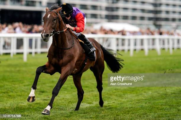 Ryan Moore riding Sextant win The Racing To School British EBF Maiden Stakes at Newbury Racecourse on August 18 2018 in Newbury United Kingdom
