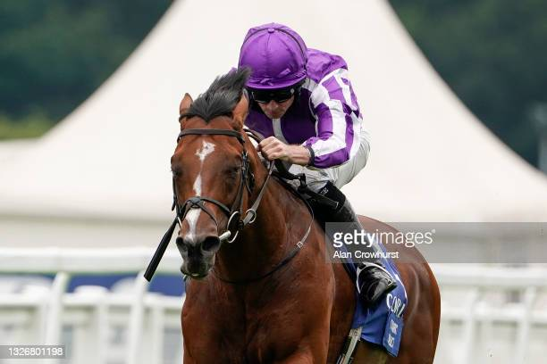 Ryan Moore riding St Mark's Basilica win The Coral-Eclipse at Sandown Racecourse on July 03, 2021 in Esher, England. Due to the Coronavirus pandemic,...