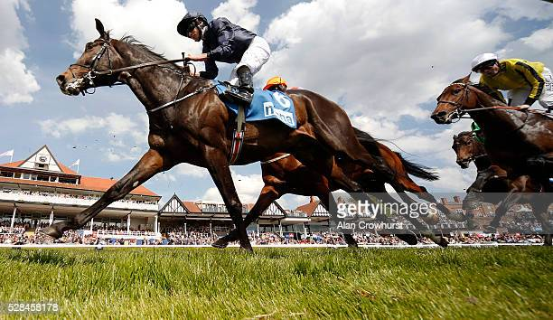 Ryan Moore riding US Army Ranger on their way to winning The MBNA Chester Vase at Chester racecourse on May 5 2016 in Chester England