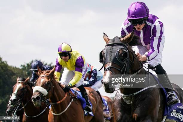Ryan Moore riding US Navy Flag win The Darley July Cup at Newmarket Racecourse on July 14 2018 in Newmarket United Kingdom