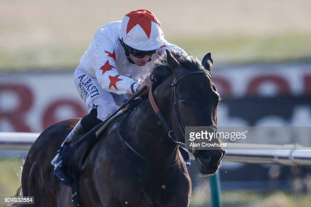 Ryan Moore riding Walk In The Sun win The 32Red Casino Novice Stakes at Lingfield Park racecourse on February 27 2018 in Lingfield England