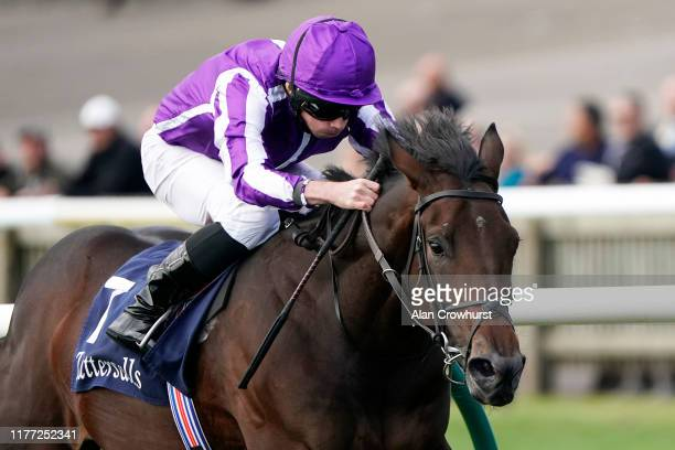 Ryan Moore riding Wichita win The Tattersalls Stakes at Newmarket Racecourse on September 26, 2019 in Newmarket, England.