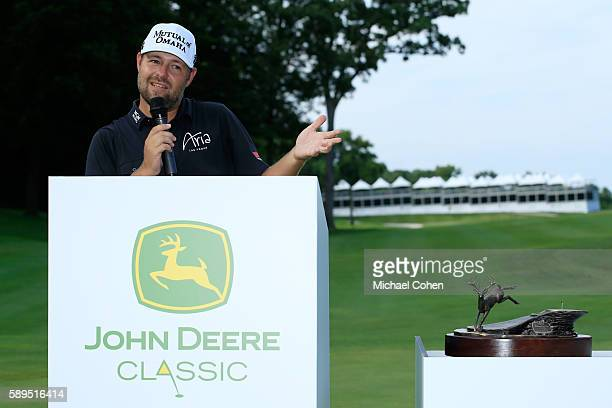 Ryan Moore speaks after winning the John Deere Classic during the final round of the John Deere Classic at TPC Deere Run on August 14 2016 in Silvis...