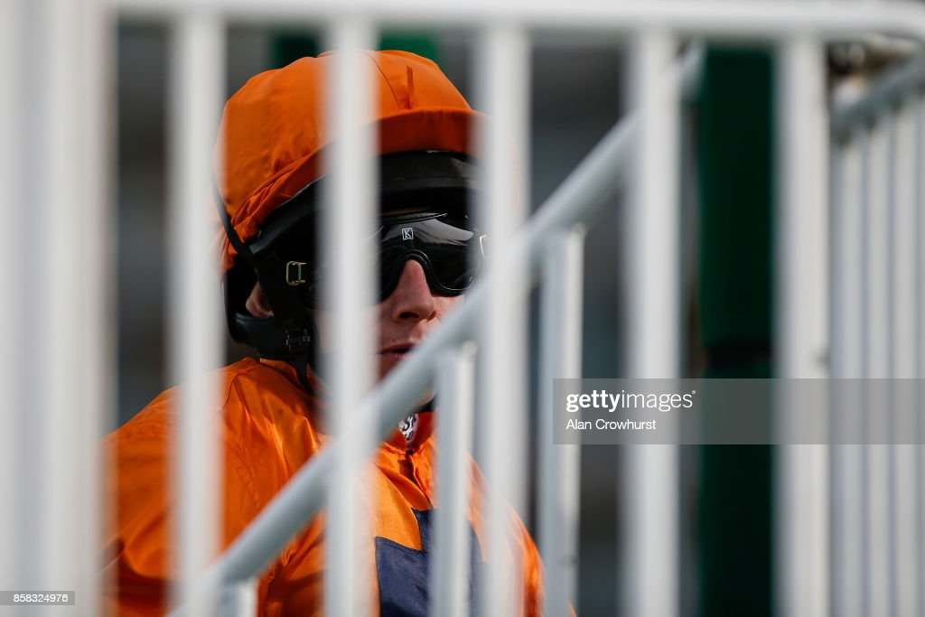 Ryan Moore waits in the stalls at Ascot racecourse on October 6, 2017 in Ascot, United Kingdom.