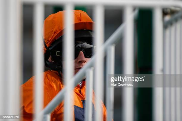 Ryan Moore waits in the stalls at Ascot racecourse on October 6 2017 in Ascot United Kingdom