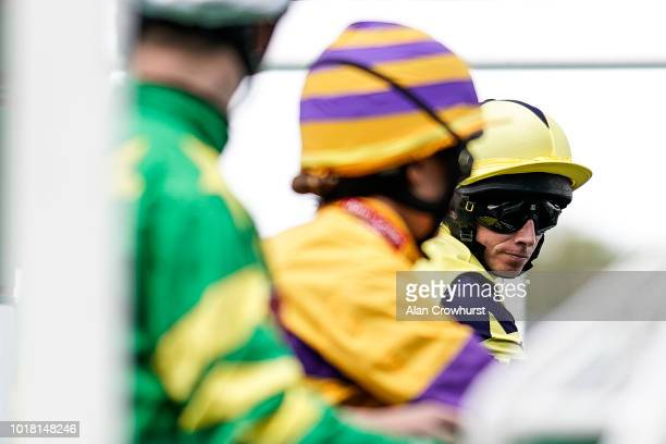 Ryan Moore waits in the stalls at Newbury Racecourse on August 17 2018 in Newbury United Kingdom