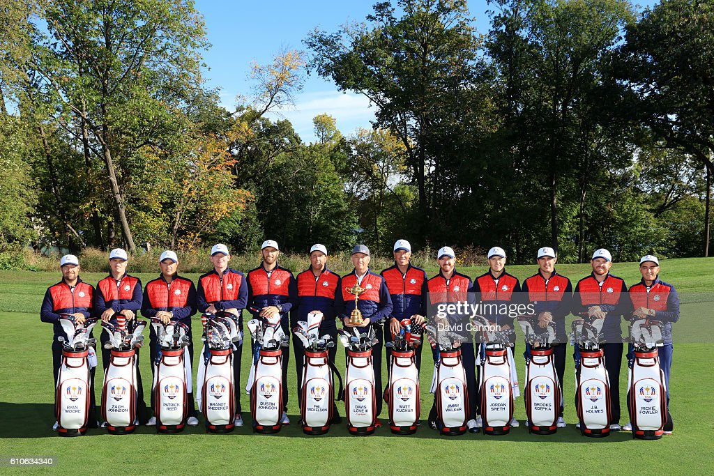 Ryan Moore, Zach Johnson, Patrick Reed, Brandt Snedeker, Dustin Johnson, Phil Mickelson, captain Davis Love III, Matt Kuchar, Jimmy Walker, Jordan Spieth, Brooks Koepka, J.B. Holmes and Rickie Fowler of the United States pose during team photocalls prior to the 2016 Ryder Cup at Hazeltine National Golf Club on September 27, 2016 in Chaska, Minnesota.