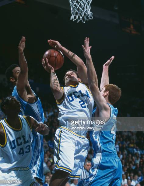 Ryan Moose Bailey, Guard for the University of California, Los Angeles UCLA Bruins drives for the hoop during the NCAA Pac-10 Conference college...