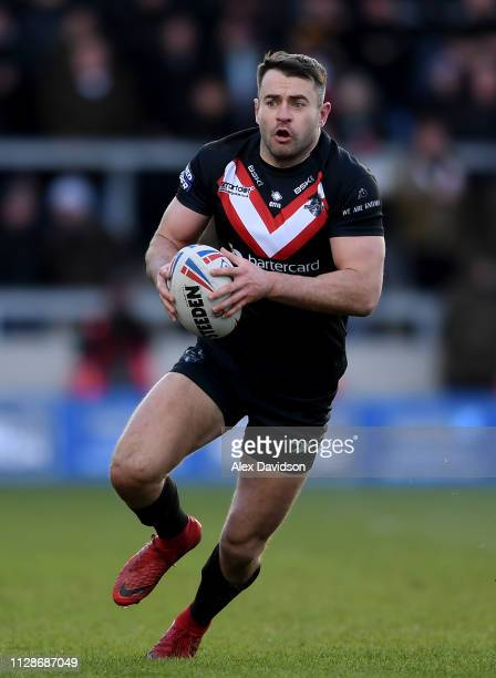 Ryan Morgan of London Broncos makes a break during the Betfred Super League match between Salford Red Devils and London Broncos at AJ Bell Stadium on...
