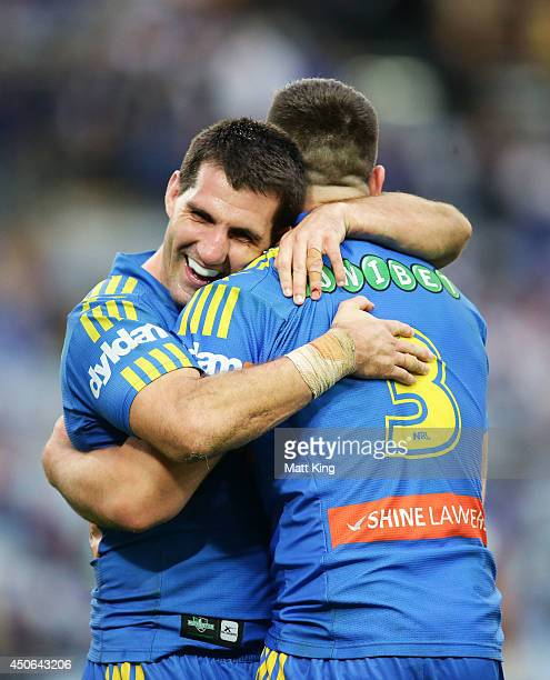 Ryan Morgan of the Eels celebrates with Isaac De Gois after scoring a try during the round 14 NRL match between the CanterburyBankstown Bulldogs and...