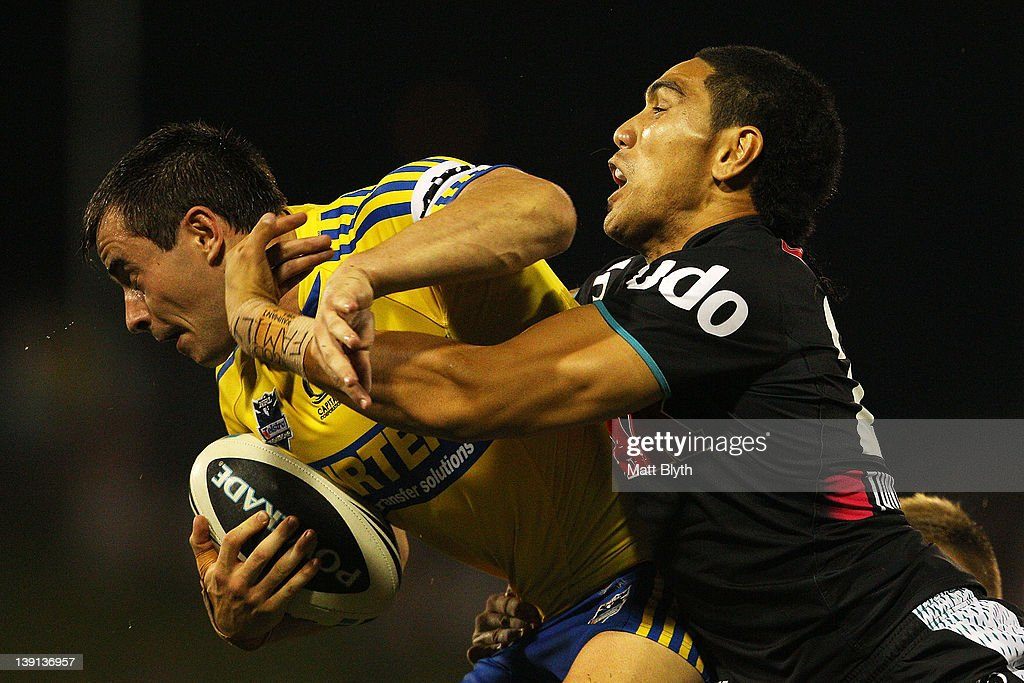 Ryan Morgan of the Eels is tackled during the NRL trial match between the Penrith Panthers and the Parramatta Eels at Centrebet Stadium on February 17, 2012 in Sydney, Australia.