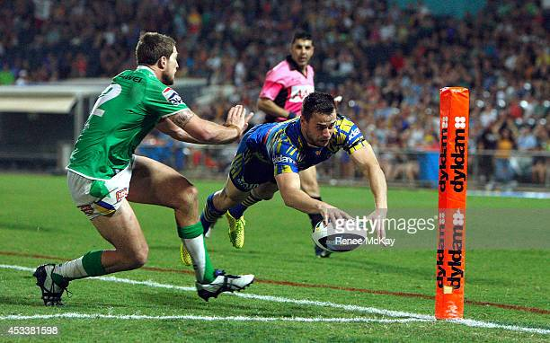Ryan Morgan of the Eels steps on the line as he attempts a try during the round 22 NRL match between the Parramatta Eels and the Canberra Raiders at...