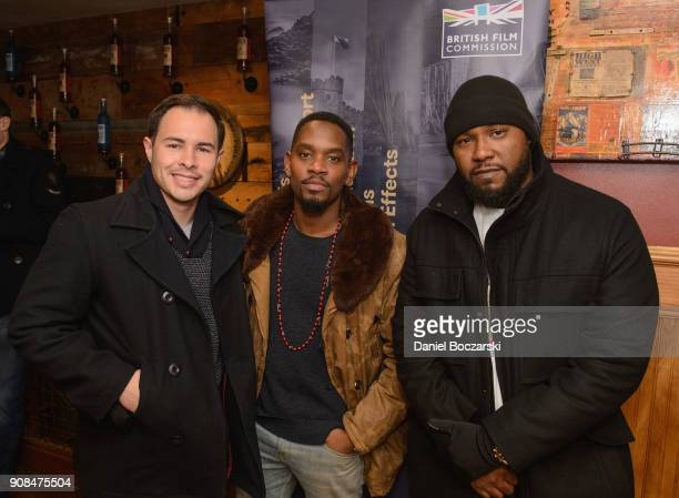 Ryan Muckenthaler Aml Ameen and Bruce Purnell attend Brunch with the Brits during the 2018 Sundance Film Festival on January 21 2018 in Park City Utah