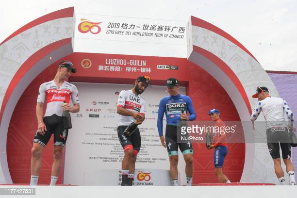 Ryan Mullen , Fernando Gaviria , Pascal Ackermann , Enric Mas Nicolau , and Tomasz Marczynski , during the Awards Ceremony of the fifth stage of the...
