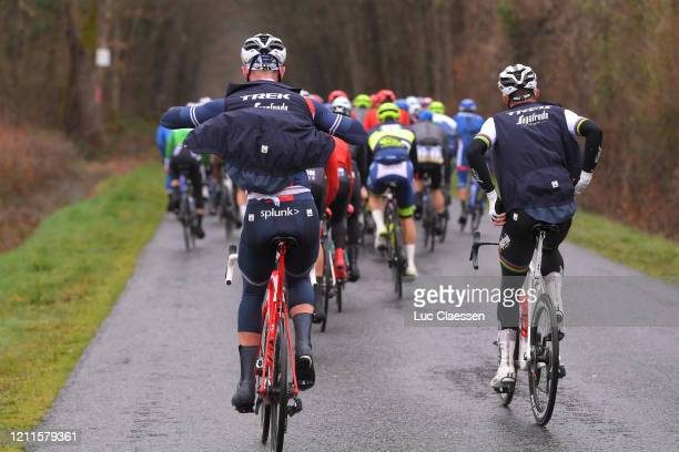 Ryan Mullen of Ireland and Team Trek - Segafredo / Mads Pedersen of Denmark and Team Trek - Segafredo / Rain / Raincoat / Detail view / during the...