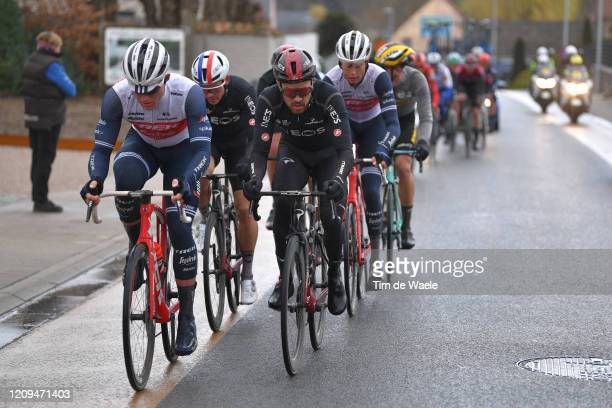 Ryan Mullen of Ireland and Team Trek Segafredo / Owain Doull of United Kingdom and Team INEOS / during the 75th Omloop Het Nieuwsblad 2020 Men Race a...