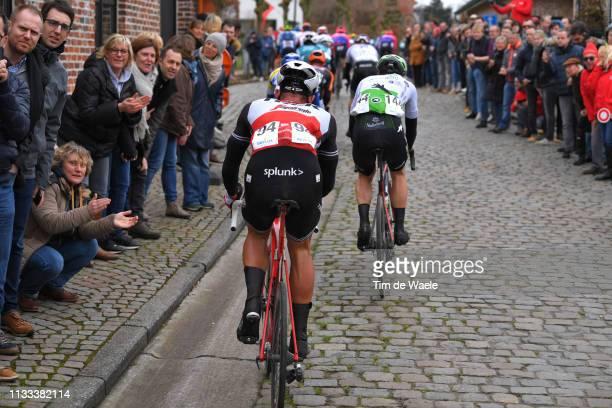 Ryan Mullen of Ireland and Team Trek-Segafredo / Julien Vermote of Belgium and Team Dimension Data / Oude Kwaremont / Cobblestones / Fans / Public /...