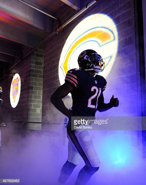 Ryan Mundy of the Chicago Bears gets ready to take the field before the game against the Miami Dolphins at Soldier Field on October 19 2014 in...