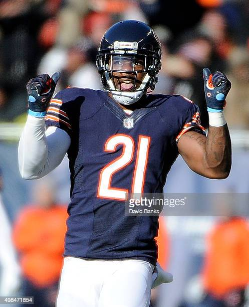 Ryan Mundy of the Chicago Bears reacts after making a play against the Denver Broncos on November 22 2015 at Soldier Field in Chicago Illinois