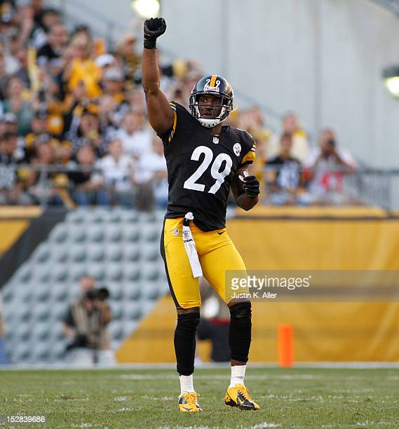 Ryan Mundy of the Pittsburgh Steelers awaits the snap against the New York Jets during the game on September 16 2012 at Heinz Field in Pittsburgh...