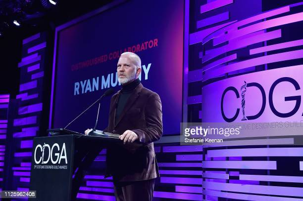 Ryan Murphy accepts the Distinguished Collaborator Award onstage during The 21st CDGA at The Beverly Hilton Hotel on February 19 2019 in Beverly...
