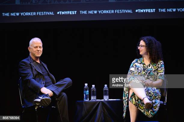 Ryan Murphy and Emily Nussbaum speak onstage during the 2017 New Yorker Festival at SIR Stage37 on October 7, 2017 itn New York City.