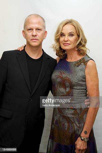 Ryan Murphy and Jessica Lange at the American Horror Story Press Conference at the Four Seasons Hotel on October 26 2012 in Beverly Hills California