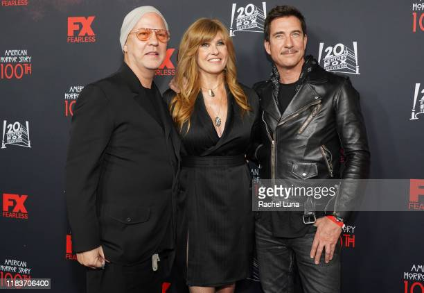 Ryan Murphy Connie Britton and Dylan McDermott attend FX's American Horror Story 100th Episode Celebration at Hollywood Forever on October 26 2019 in...