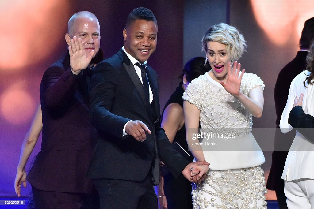 Ryan Murphy, Cuba Gooding Jr. and Sarah Paulson onstage during the 22nd Annual Critics' Choice Awards at Barker Hangar on December 11, 2016 in Santa Monica, California.