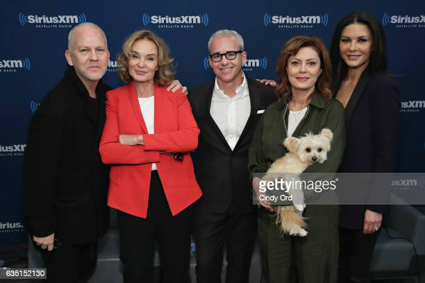 Ryan Murphy Jessica Lange Susan Sarandon and Catherine ZetaJones pose for a photo with host Jess Cagle during SiriusXM's 'Town Hall' with the cast of...