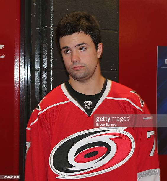 Ryan Murphy of the Carolina Hurricanes meets with the media at the 2012 NHLPA rookie showcase at the MasterCard Centre on August 28 2012 in Toronto...
