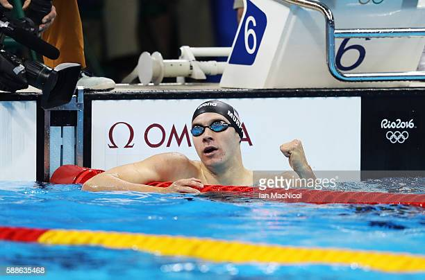 Ryan Murphy of United States celebrates winning the Men's 200m Backstroke on Day 6 of the Rio 2016 Olympic Games at the Olympic Aquatics Stadium on...