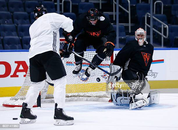 Ryan Murray of Team North America jumps to let JT Miller's shot scores a goal during a practice at the Centre Videotron on September 8 2016 in Quebec...