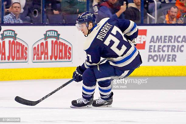 Ryan Murray of the Columbus Blue Jackets skates after the puck during the game against the New York Rangers on April 4 2016 at Nationwide Arena in...