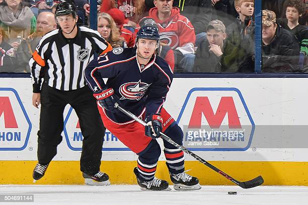 Ryan Murray of the Columbus Blue Jackets skates against the Carolina Hurricanes on January 9 2016 at Nationwide Arena in Columbus Ohio