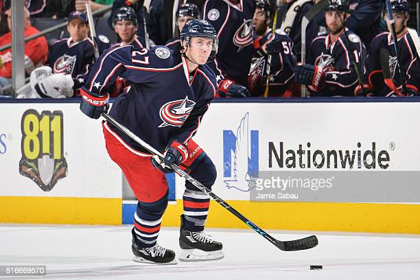 Ryan Murray of the Columbus Blue Jackets skates against the Detroit Red Wings on March 17 2016 at Nationwide Arena in Columbus Ohio