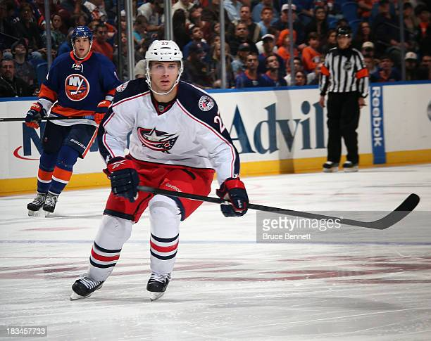 Ryan Murray of the Columbus Blue Jackets skates against the New York Islanders at the Nassau Veterans Memorial Coliseum on October 5 2013 in...