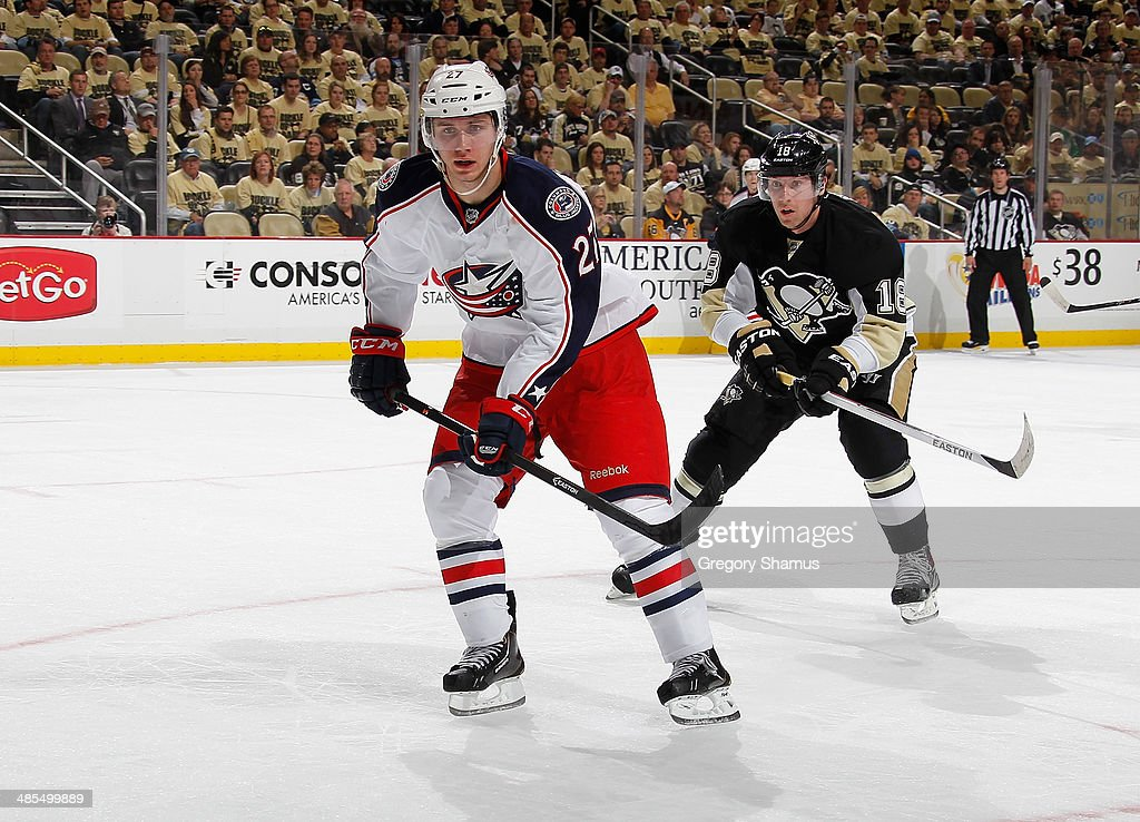 Ryan Murray #27 of the Columbus Blue Jackets skates against the Pittsburgh Penguins in Game One of the First Round of the 2014 Stanley Cup Playoffs at Consol Energy Center on April 16, 2014 in Pittsburgh, Pennsylvania.