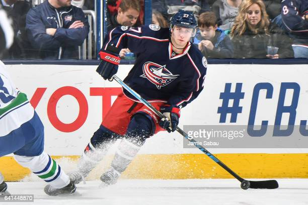 Ryan Murray of the Columbus Blue Jackets skates against the Vancouver Canucks on February 9 2017 at Nationwide Arena in Columbus Ohio Vancouver...