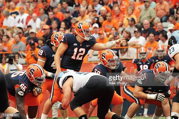 Ryan Nassib calls the Syracuse Orange play during the game against the Rhode Island Ramse on September 10, 2011 at the Carrier Dome in Syracuse, New...