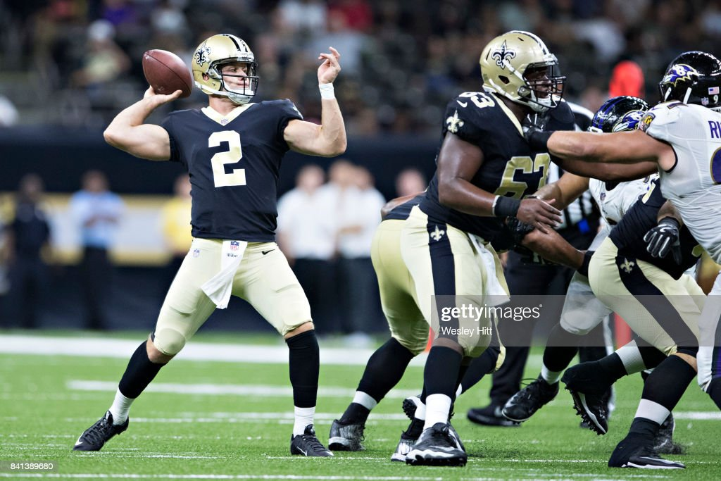 Ryan Nassib #2 of the New Orleans Saints throws a pass during a preseason game against the Baltimore Ravens at Mercedes-Benz Superdome on August 31, 2017 in New Orleans, Louisiana. The Ravens defeated the Saints 14-13.