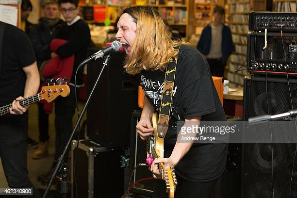 Ryan Needham of Menace Beach performs at Jumbo Records Town on January 19 2015 in Leeds United Kingdom