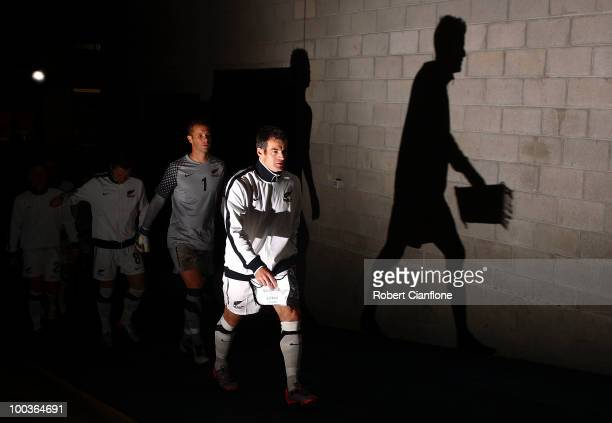 Ryan Nelsen and Mark Paston of New Zealand walk up the players tunnel prior to the 2010 FIFA World Cup PreTournament match between the Australian...