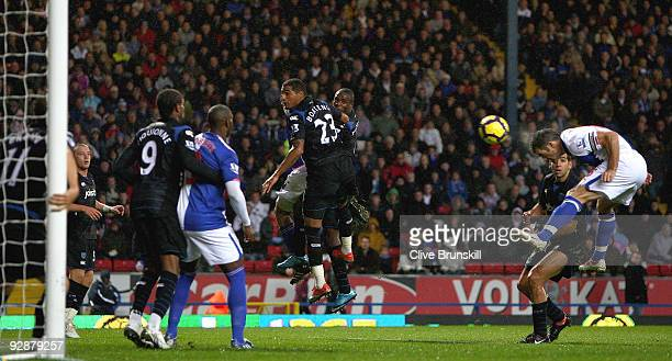 Ryan Nelsen of Blackburn Rovers scores the second goal during the Barclays Premier League match between Blackburn Rovers and Portsmouth at Ewood Park...