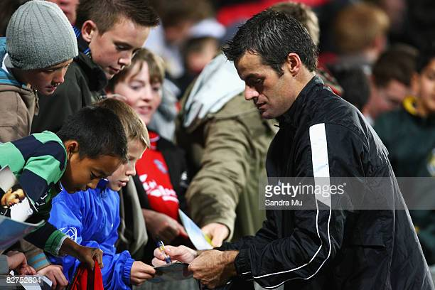 Ryan Nelsen of New Zealand signs his autograph for fans after the Oceania Nations CupFIFA World Qualifing match between the New Zealand All Whites...