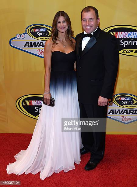 Ryan Newman and his his wife Krissie Newman arrive at the 2014 NASCAR Sprint Cup Series Awards at Wynn Las Vegas on December 5 2014 in Las Vegas...