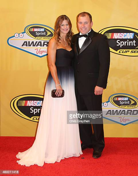 Ryan Newman and his wife Krissie Newman arrive on the red carpet prior to the 2014 NASCAR Sprint Cup Series Awards at Wynn Las Vegas on December 5...