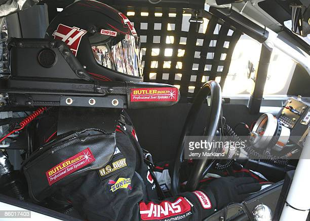 Ryan Newman drive of the Haas Automation Chevrolet sit is his race car during practice for the NASCAR Sprint Cup Series SUBWAY Fresh Fit 500 at...
