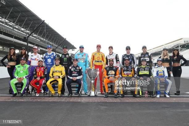 Ryan Newman driver of the Acorns Ford Kyle Larson driver of the McDonald's Chevrolet Erik Jones driver of the STANLEY Wish For Our Heros Toyota...